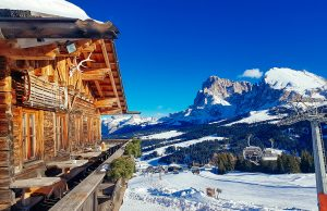 An epic lunch spot at the Seisser Alm in the Italian Dolomites in Winter