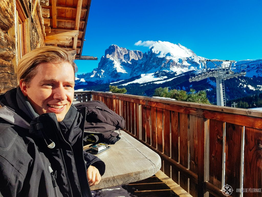 Me enjoying all that sun after a healthy lunch at the Seisser Alm / Alpe di Siusi