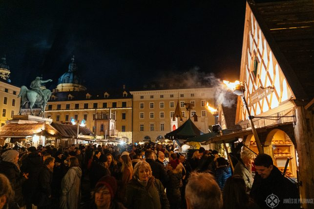The medieval christmas market on Wittelsbacherplatz in Munich, Germany