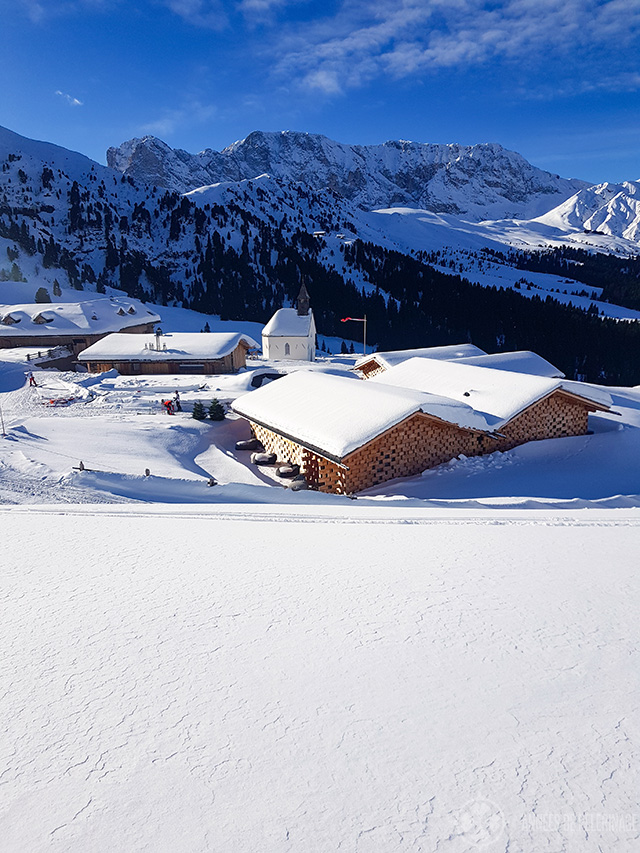 A beautiful mountain village at the Seisser alm in the Italian Dolomites
