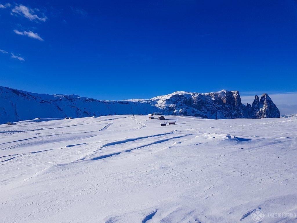 Scenic hiking trails the Alpe di Siusi in Italy in winter