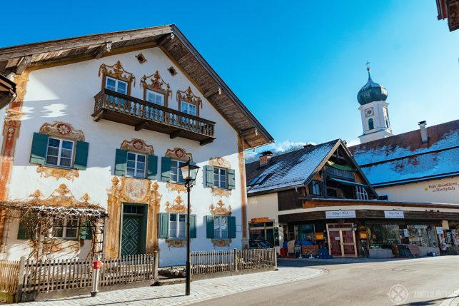 Traditional air paintings on the historic houses in Oberammegau, Bavaria