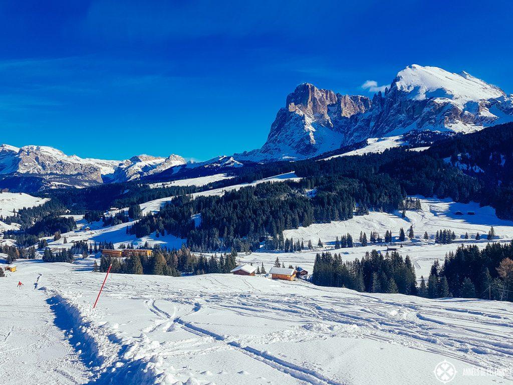 ski slopes and panorama of the Langkofel and Plattkofel mountains