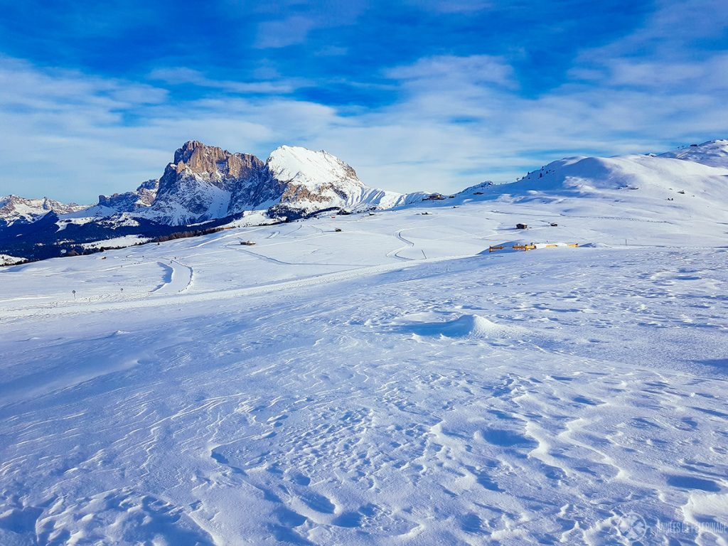 View of the plateau of the Seisser Alm in Winter