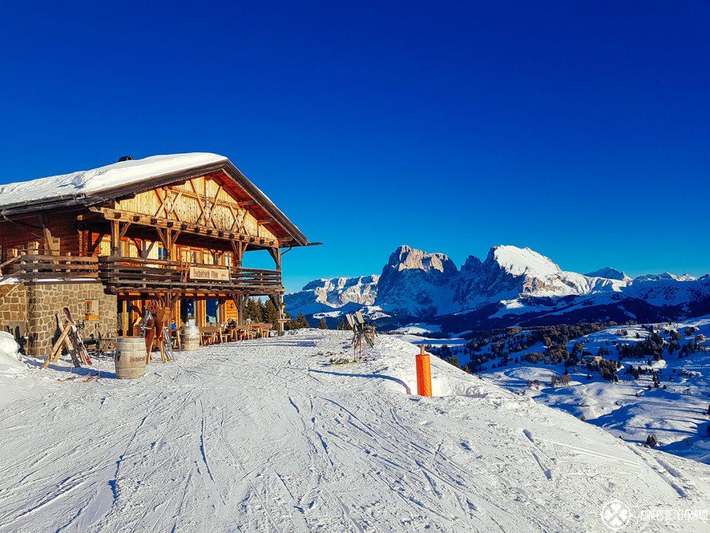 A particular scenic ski hut at the Alpe di Siusi in the Dolomites, Italy