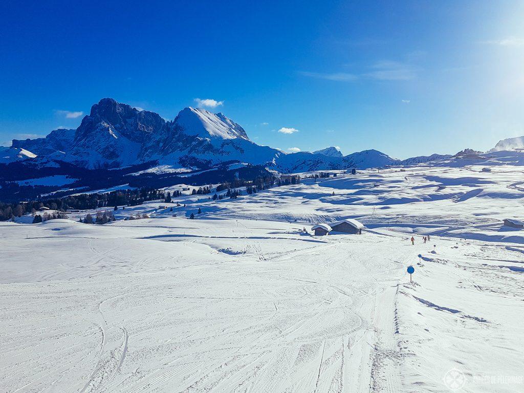ski slopes at alpe di siusi in the Italian Dolomites in winter