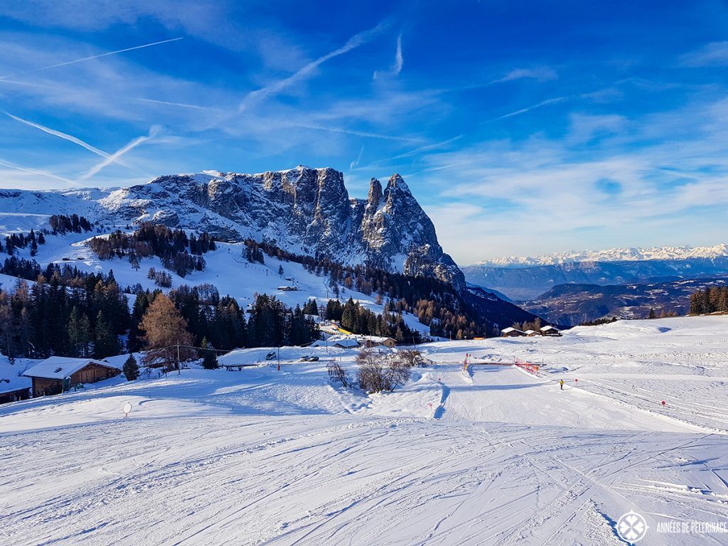 The Schlern mountain and the ski slopes in the foreground in the Dolomites in winter