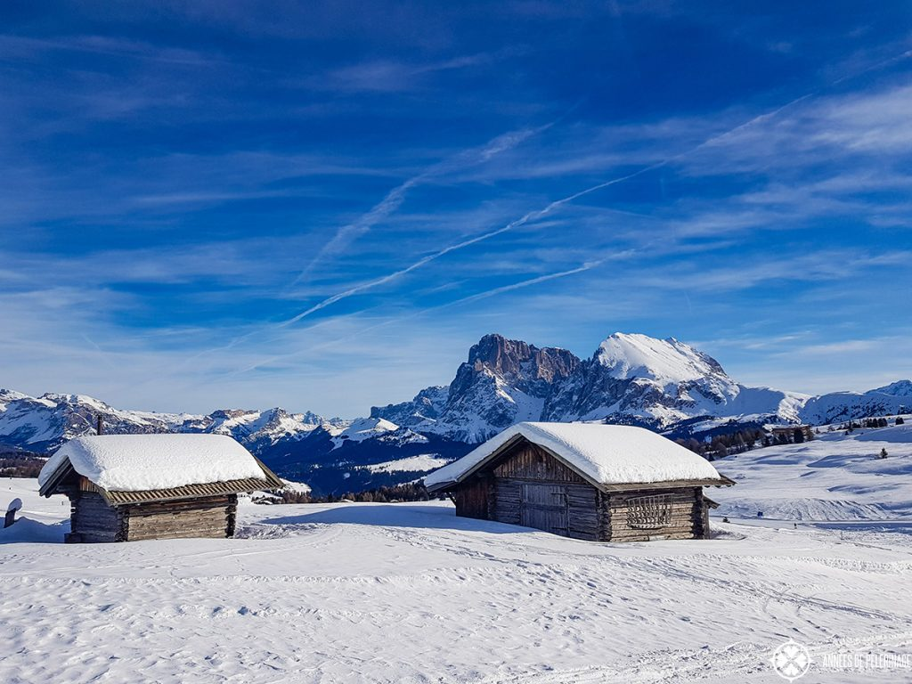 Typical small huts on the plateau of the Alpe di Siusi in the Italian Dolomites in Winter