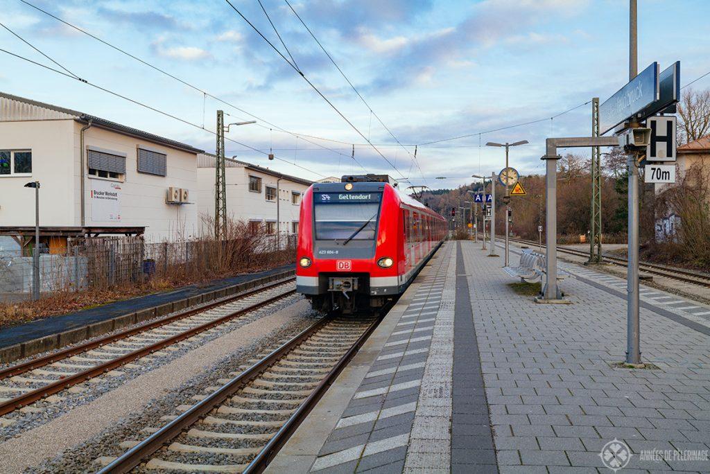 The suburban train S4 to Geltendorf at the station in Fürstenfeldbruck