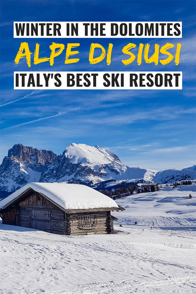 Dolomites in Winter - Alpe di Siusi is Italy's best ski resort. It combines majestic UNECO World Heritage landscape with fantastic ski slopes and excellent food.