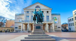 The famous Goethe and Schiller Statue in front of the Weimar THeater