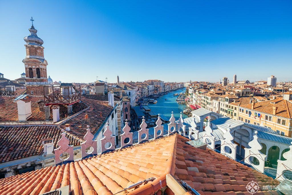 A beautiful view of the Grand Canal in Venice from the roof top of the T Fondaco department store near the Rialto bridge