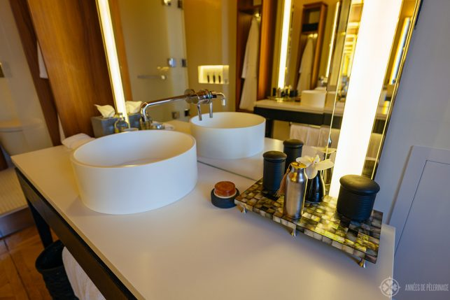 bathroom details - the sink with a couple of amenities