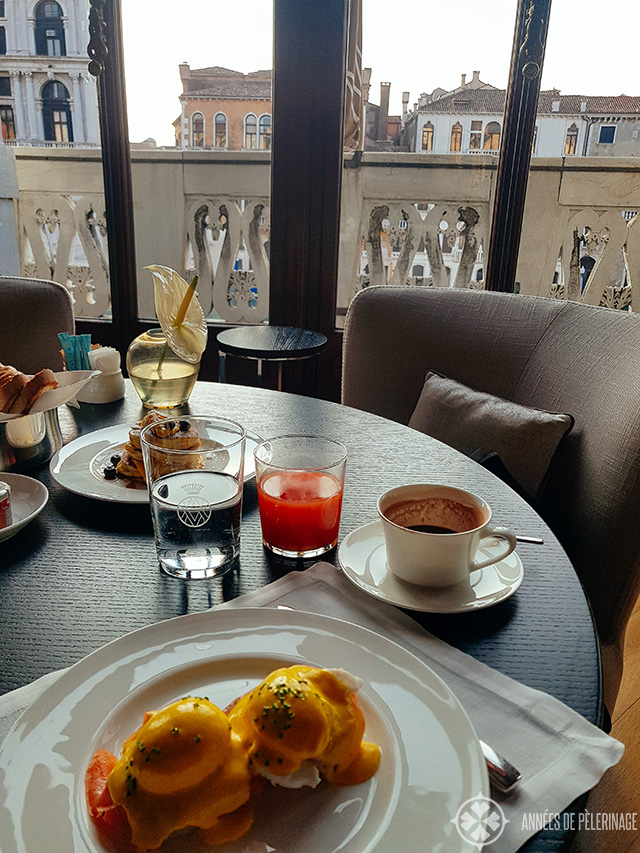 Eggs benedict for breakfast at the Aman Venice hotel