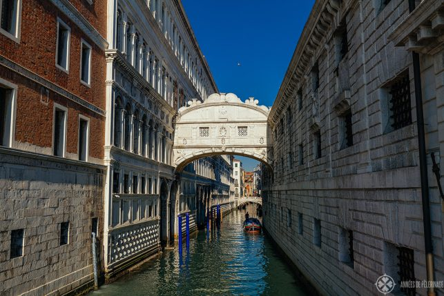 The famous Bridge of Sighs connecting the Doge's Palace with the adjacent Prison