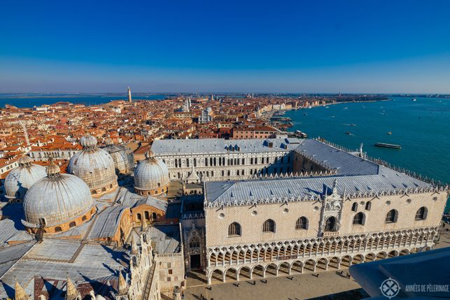 View of the St Mark's church and the Doge Palace from the top of the bell tower
