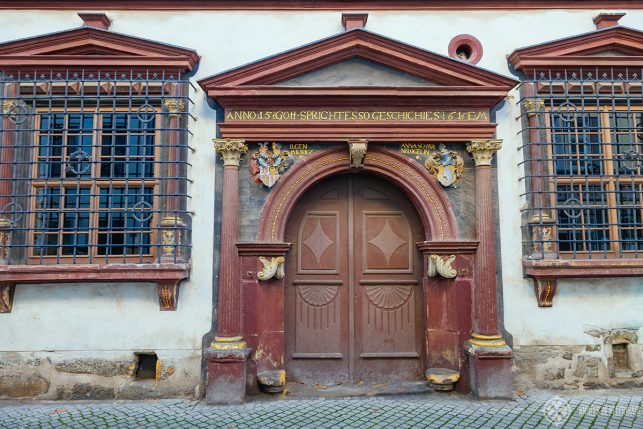 Beautiful door in the old town of erfurt