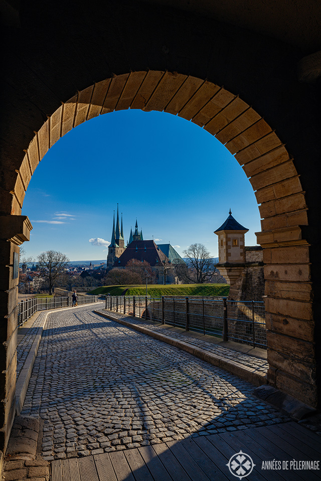 Erfurt as seen through the gates of the Petersberg citadel