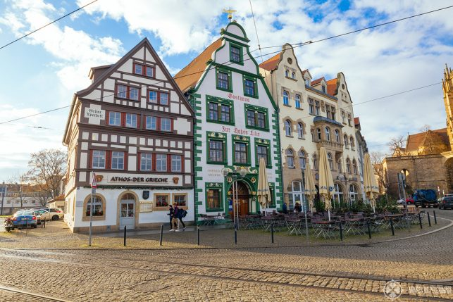 beautiful houses on cathedral square in the old town of Erfurt