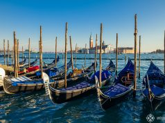 Gondolas basking in the waters in front of Saint Marc's Square in Venice
