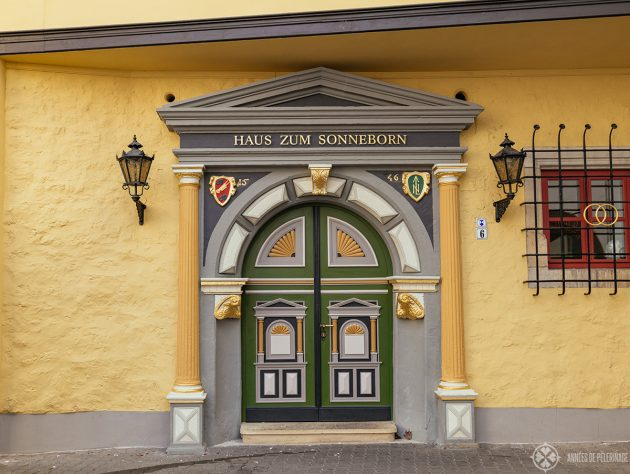The beautiful door of the Haus Sonneborn in Erfurt's old town