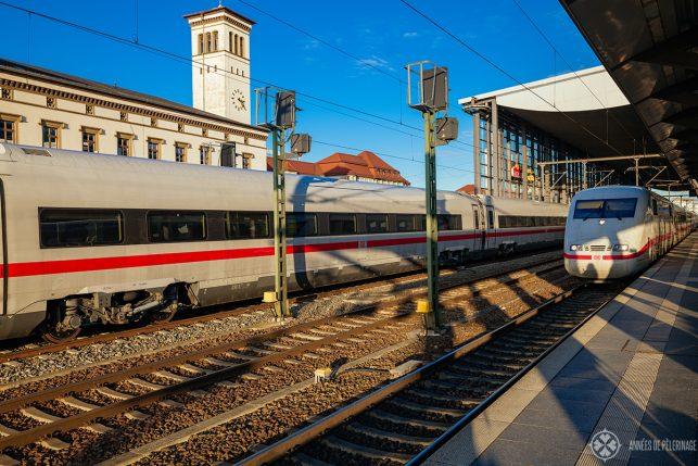 A highspeed train waiting at Erfurt central station