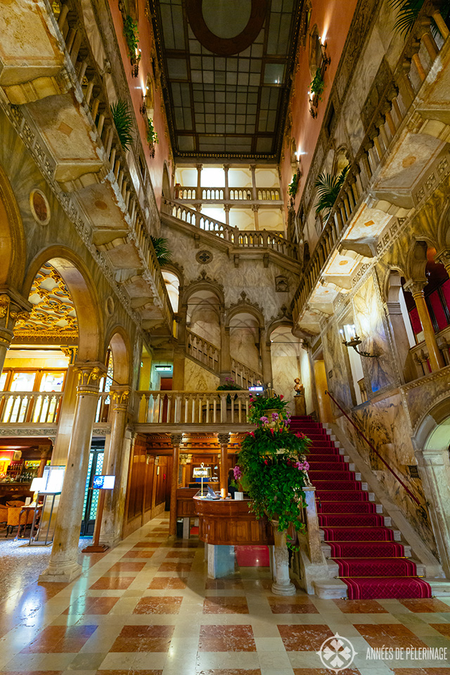 The fantastic marbled lobby of the hotel Danieli in Venice. It looks a bit like a fairy tale with all those marble arches