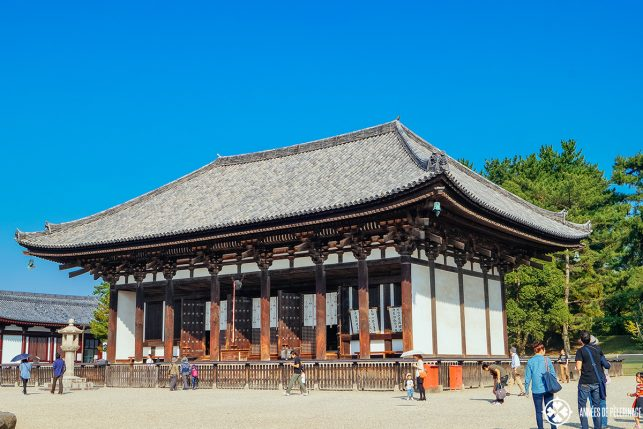 The golden hall of kofukuji temple in nara japan