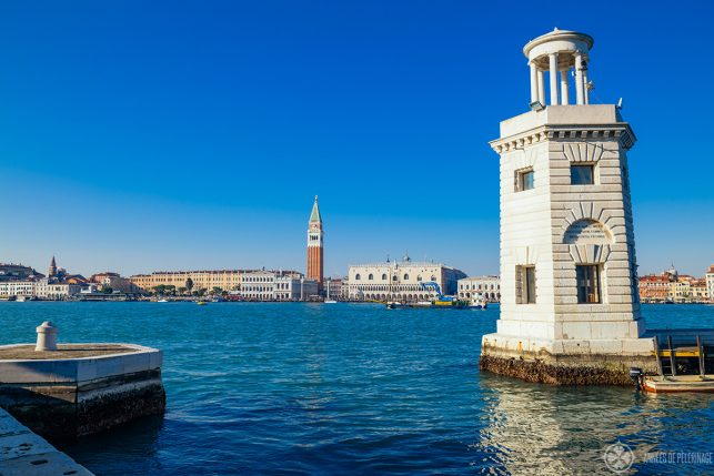 The lighthouse on San GIorgio Maggiore with a view of the Doge's Palace and Venice