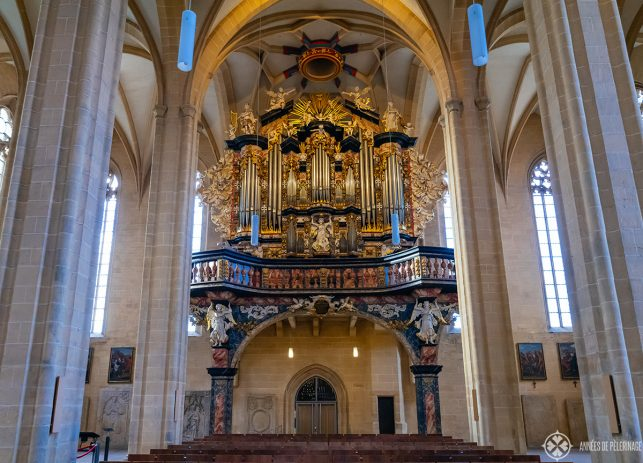 The baroque organ inside the St Severin Church in Erfurt