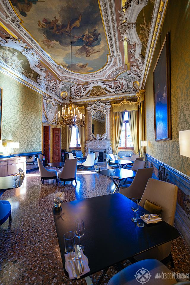 A beautiful dinner room inside the AMan Venice luxury hotel