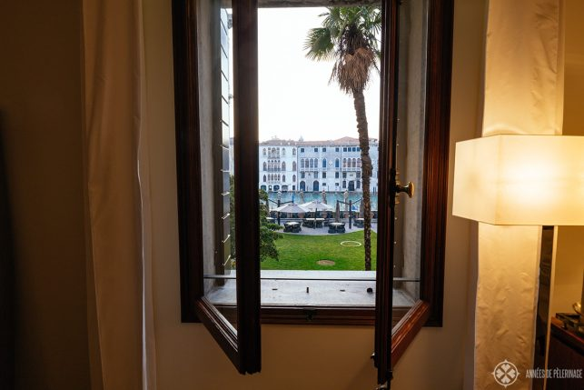 View of the Canal Grande through the open window of my suite at the AMan Venice