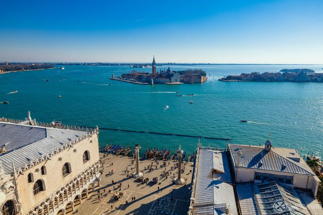 The view of San Giorgio Maggiore from the top of the St Mark's bell tower in Venice, Italy