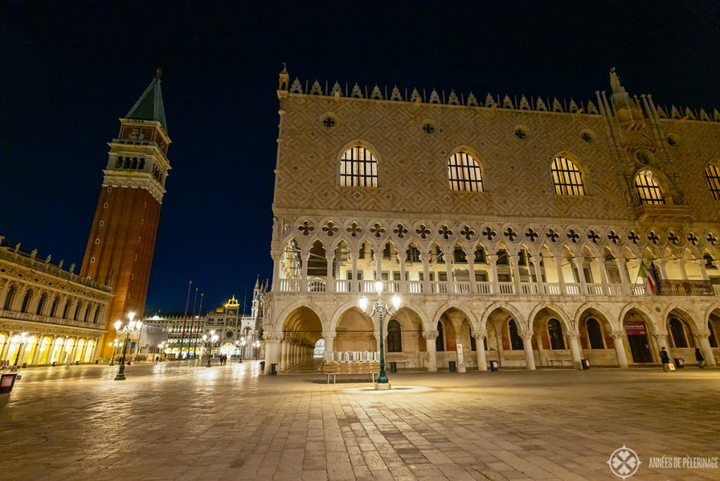 The Doge's Palace and St Mark's square at night without any tourists