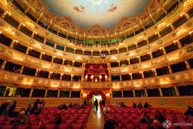 Inside the Teatro Fenice oper house with 5 golden tiers of seats