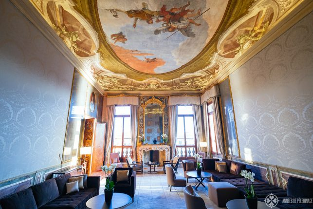 The tiepolo room on the second floor of Aman Venice