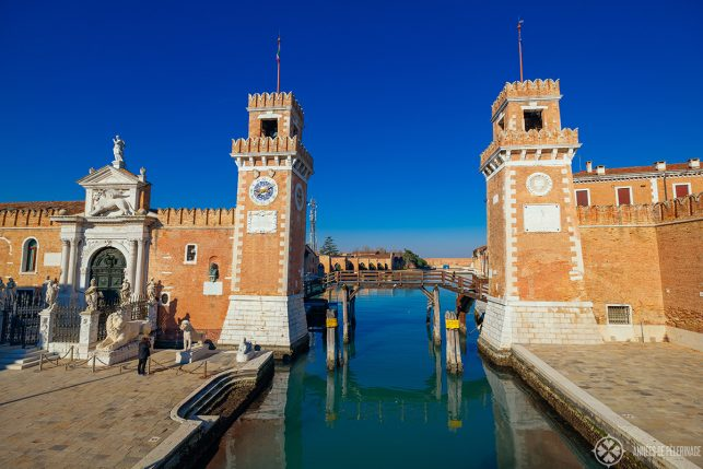 The two red brick towers guard the water entrance of the Venetian Arsenal