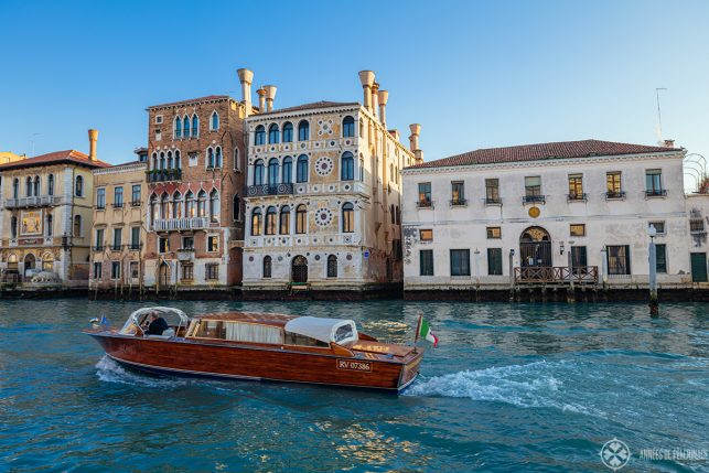 A typical water taxi in Venice on the Grand Canal in Venice