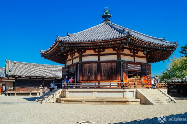 The yumendono hall of dreams at horyuji temple in nara