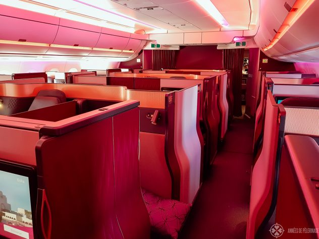 The iconic business class cabin of qatar airways