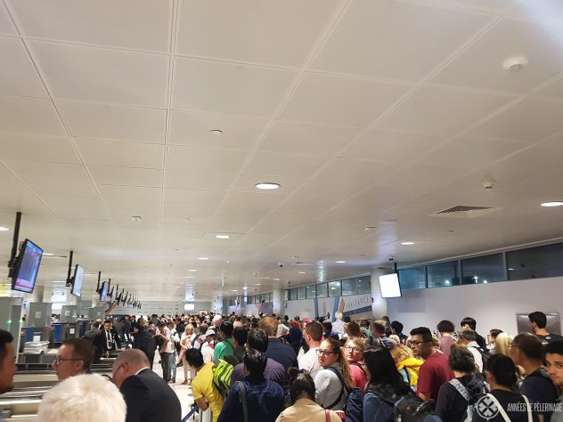 The immigration lines at delhi airport