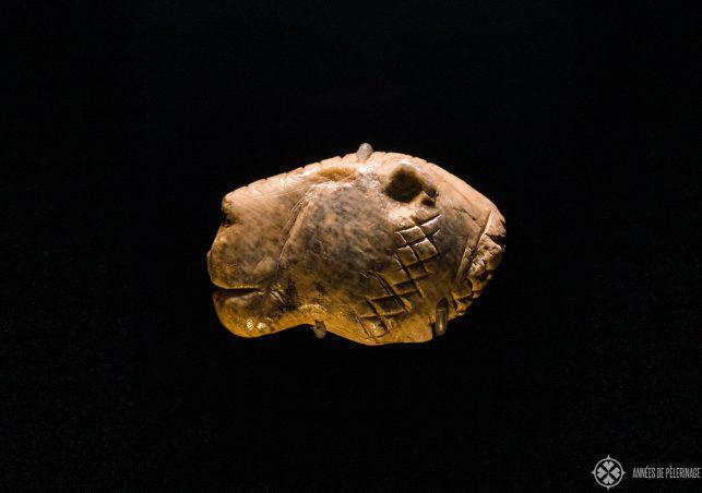 The famous Lion's head of Vogelherd inside the Landesmuseum Württemberg