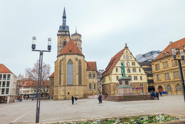 The Stifftskirche church as seem from Schillerplatz in Stuttgart, Germany