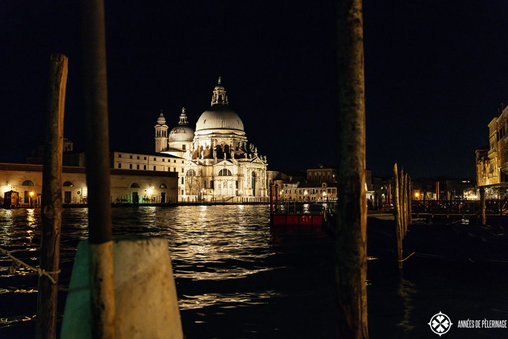Scene along the canal grande in venice at night