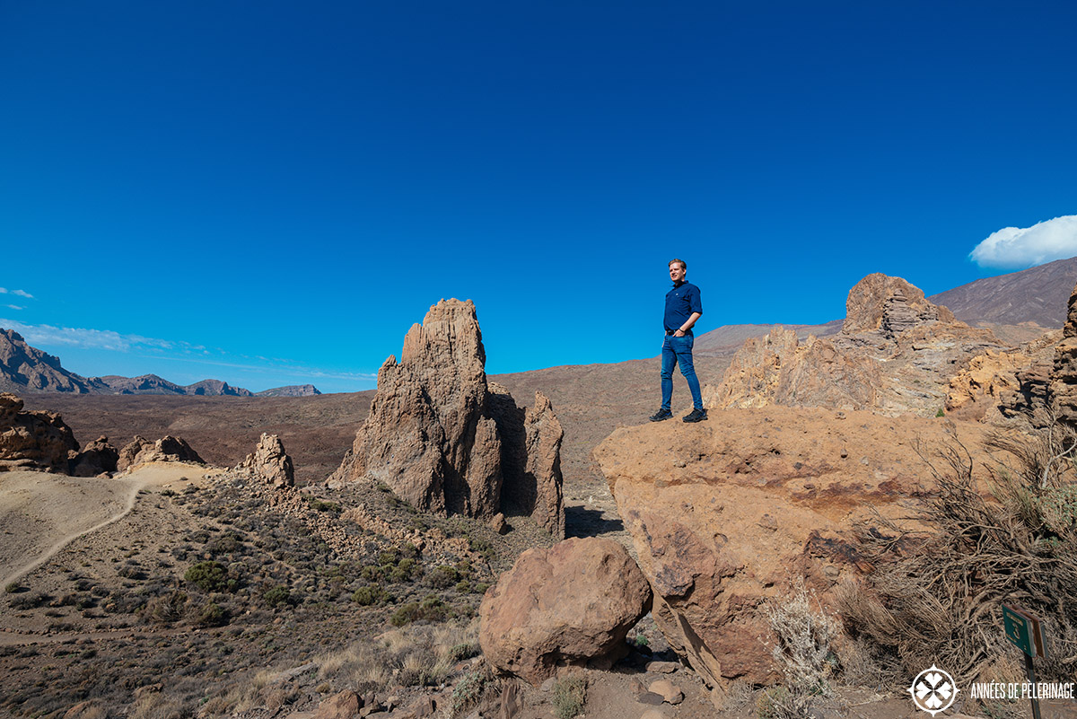 me standing on a promontory with views of Teide national park in the valley below