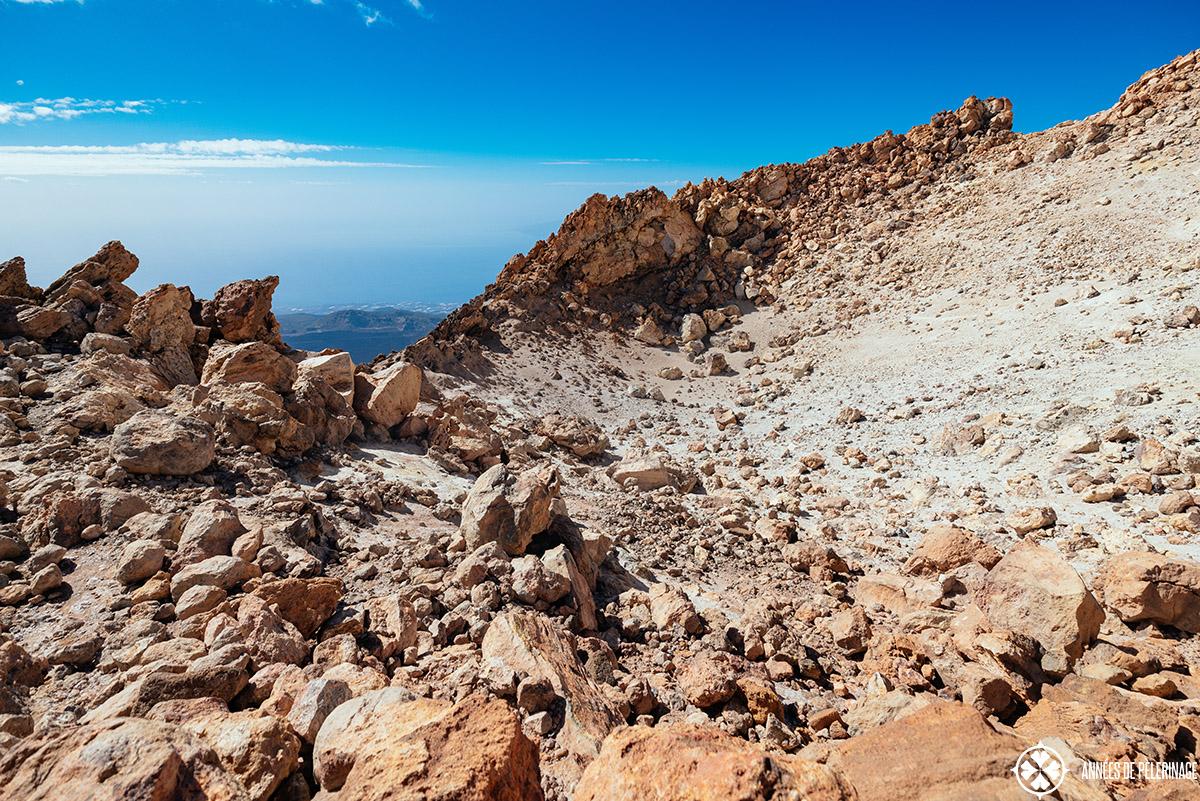 the small caldera at the very top of pico de teide