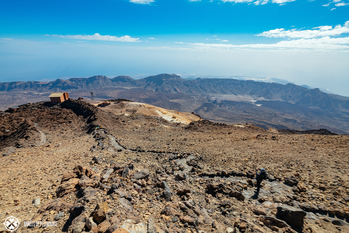 view from the top of teide volcano - you can see the whole islands - though it's a bit hazy