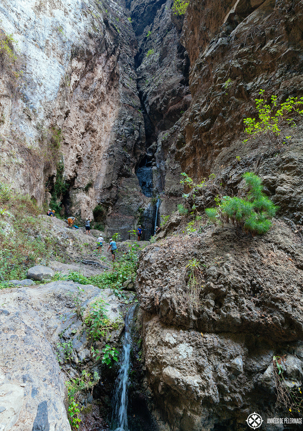 The waterfall at the end of the barranco del infierno on tenerife, canary islands